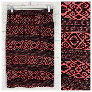 Lularoe Cassie Neon Pink Aztec Print Pencil Skirt